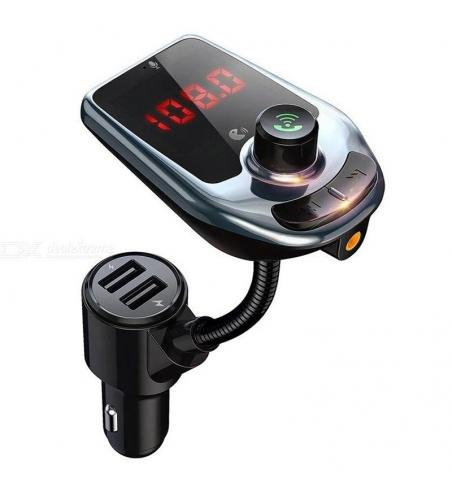 D5 Lecteur MP3 Kit Émetteur FM Mains Libres Bluetooth 5.0 Double Chargeur USB Avec Affichage LED Pour Téléphone Mobile